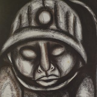 African School, mixed media, study of a miner, signed Pemba-...