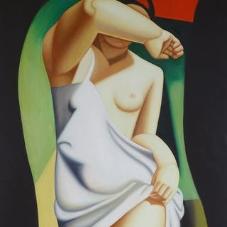 """Modern oil on canvas, nude study, unsigned, 36"""" x 24"""", frame..."""