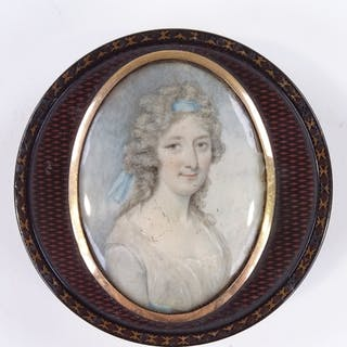 A Georgian circular lacquer snuffbox, with inset miniature w...