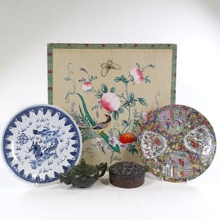 A group of Oriental items, including a chrysanthemum decorat...