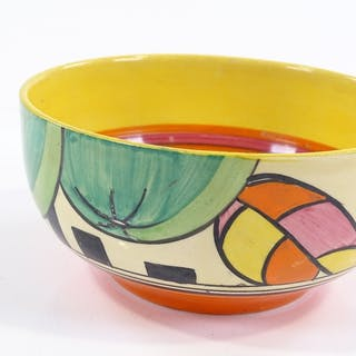 A Clarice Cliff Bizarre Fantasque bowl, hand painted geometr...