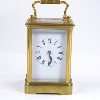 A French gilt-brass cased carriage clock, 8-day striking mov...