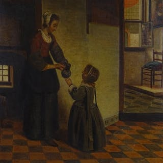 18th / 19th century oil on canvas, Dutch interior scene, uns...