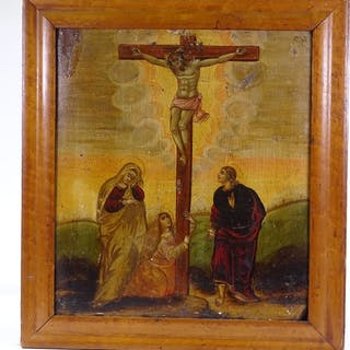 A pair of Continental religious paintings on oak panels, dep...