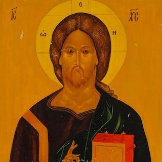 "Greek/Russian icon on wood panel, 13"" x 9"""