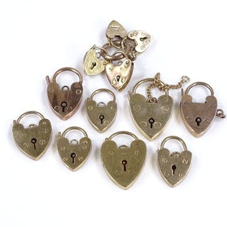 12 9ct gold heart locks for charm bracelets, largest length ...