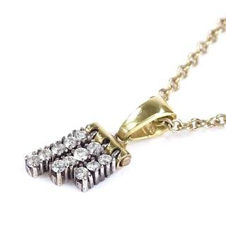 An 18ct gold triple-row diamond pendant necklace, pendant he...