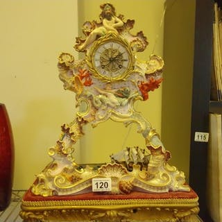 19c Majolica French Clock, with a Nautilus theme on raised g...