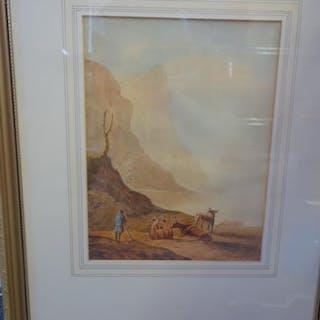Samuel Prout, f/g watercolour Mountainous scene with single ...