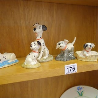 101 Dalmations, by Royal Doulton, 6 small figurines of dogs ...