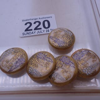 Matching set of 5 Satsuma Oriental buttons each one with a h...