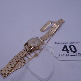 Ladies Longines 9ct gold vintage wrist watch with a 9ct gold...