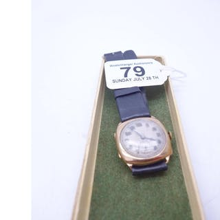 Vintage 9ct gold Gent's watch on leather strap, dial marked ...