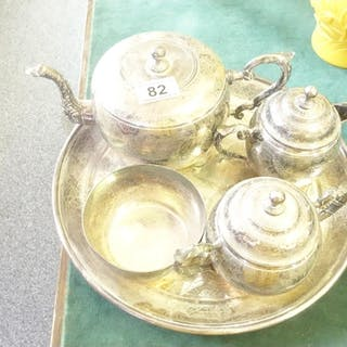 Silver plated tea set on tray, oriental origin, silver plate...