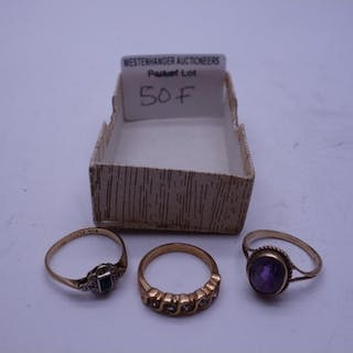 Amethyst 9ct gold ring, size L, a dress ring size L, 6 grams