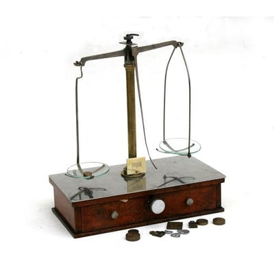 A set of apothecary scales with glass pans and weights, reta...