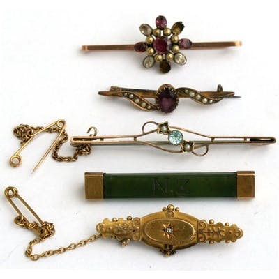 A group of five Victorian and later bar brooches.