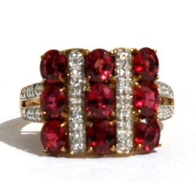 A 9ct gold ruby and diamond ring, approx UK size 'N'.