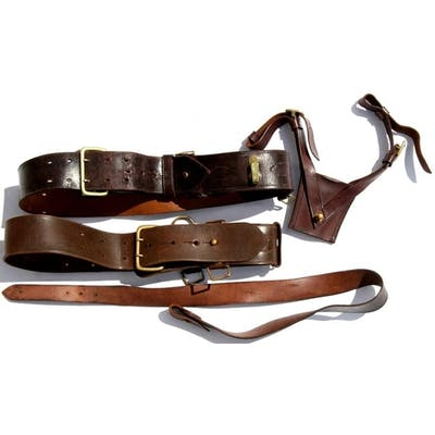 Two military leather belts and a leather frog.