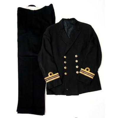 A Royal Navy Lieutenant Commanders uniform of jacket & trous...