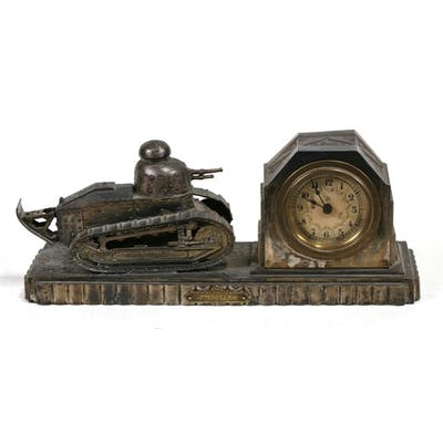 A rare WW1 French 505th Regiment Renault Tank and Clock comb...