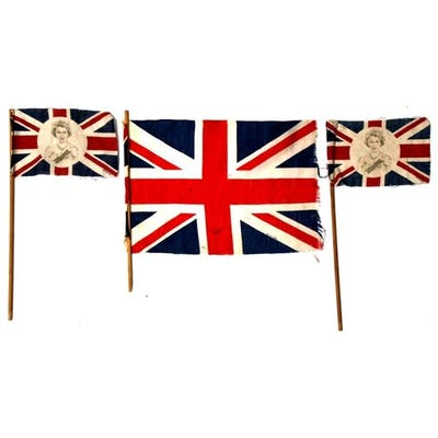 Two 1953 Queen Elizabeth II Coronation printed cotton flags ...
