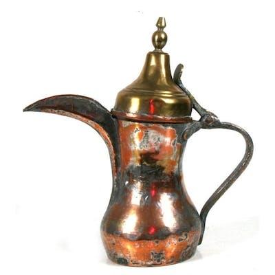 A tinned copper & brass Turkish / Islamic dallah coffee ...