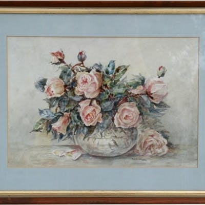 M C Such - Still Life of Roses - signed & dated 1959 low...