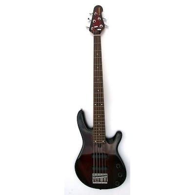 A Yamaha five string bass guitar, Model No. BB405, in soft c...