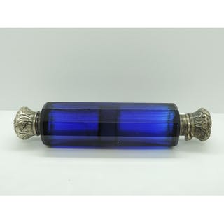 Cobalt Blue Glass Double End Scent Bottle with Embossed Whit