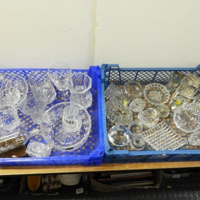 2x Boxes of Crystal and Glassware - Paperweights etc