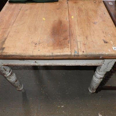 Part Painted Pine Kitchen Table on Turned Legs   Barnebys