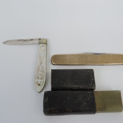 2x Fruit Knives - One Silver Bladed with Mother of Pearl Han...