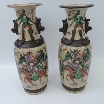 Pair of Victorian Chinese Dragon Handled Immortals Vases wit...