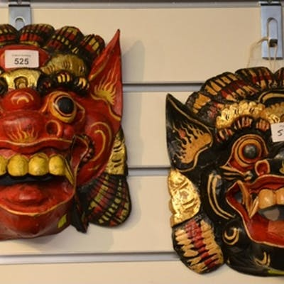 Pair of painted tribal masks