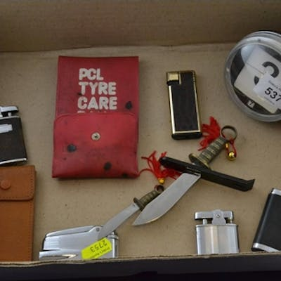 Box of collectable items, including vintage lighters & desk ...