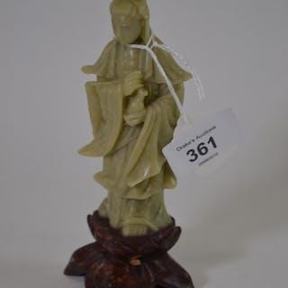 Hardstone figure of Guanyin, 15cm high