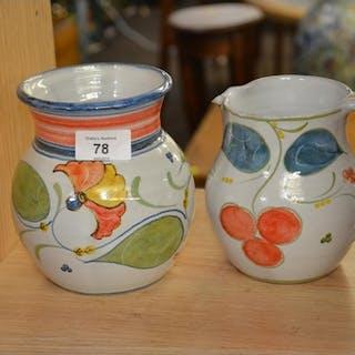 Harriet Coleridge glazed terracotta jug & vase, each approx ...