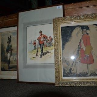3 framed prints of military interest