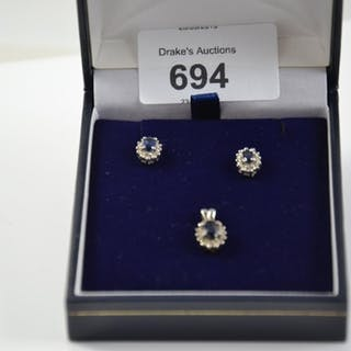 14ct white gold, sapphire & diamond cluster ear studs & pend...