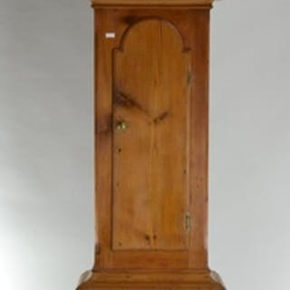 Pine cased C19 grandfather clock, with hand painted face wit...