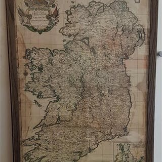 Large 17th century French colour map of Ireland. Royaume D'I...