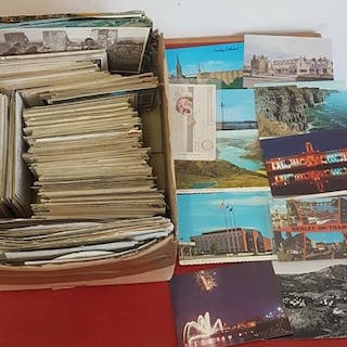 Postcards. Large collection of modern, mostly used cards. Ir...