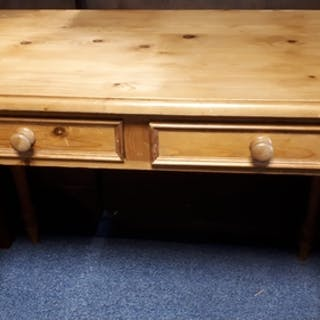 A pine side table/desk, with two frieze drawers and turned l...