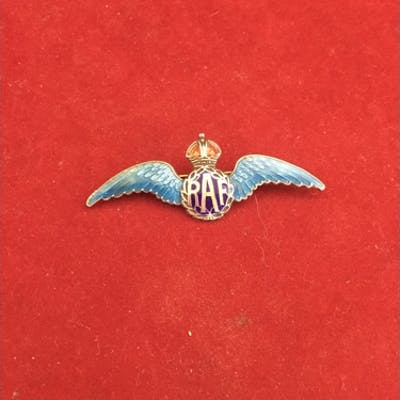 A silver and enamel RAF sweetheart brooch, with blue enamel