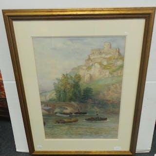 Framed Watercolour 'Chateau Galliard Above the River Seine, ...