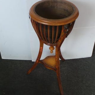 Satinwood and Inlaid Basket Shape Pot Stand