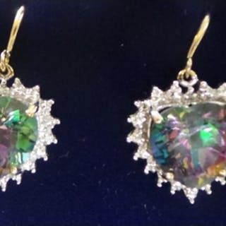 Pair of Gold Mystic Topaz and Diamond Earrings