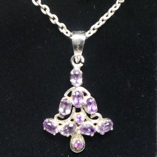 Silver Amethyst Pendant and Chain
