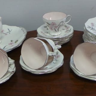34 Pieces Sylphide Foley Bone China Teaware